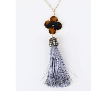 Tortoise Clover Pendant Long Tassel Necklace